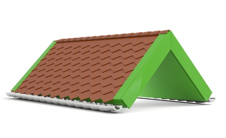 Roof. Creative green model isolated on white background photo