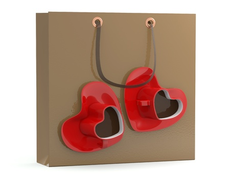 Shopping bag with coffee cup in form of heart  3D model photo