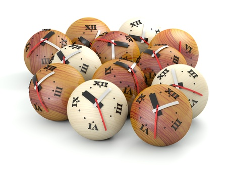 Time concept  Wooden sphere clocks Stock Photo