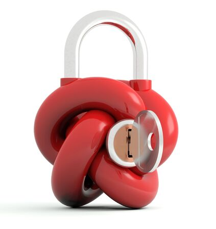 Lock with key in form of knot. 3D model Stock Photo - 14624667