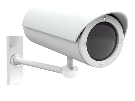 Security camera. 3D model isolated on white background photo