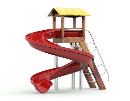 Toy colina para o modelo playground.3D isolado no fundo branco Imagens