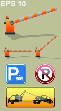 Car parking sign, barrier symbol, roadside assistance car towing truck icon.