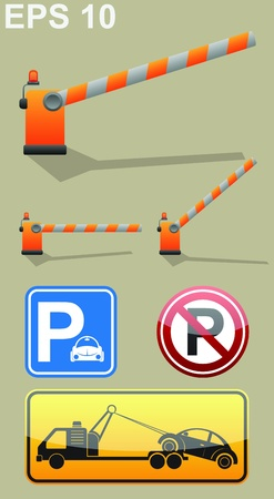 Car parking sign, barrier symbol, roadside assistance car towing truck icon.