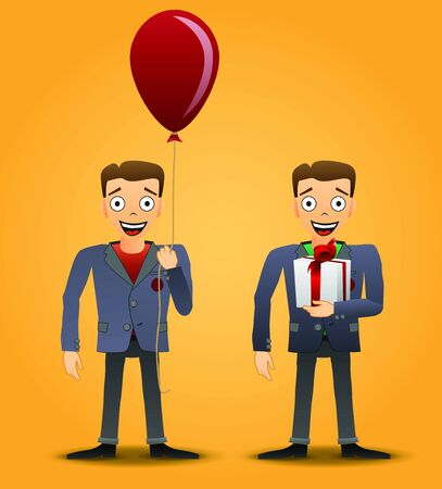 Character with gift and balloon. Holiday set. illustration  Vector
