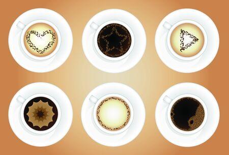 Coffee cups. Latte art.
