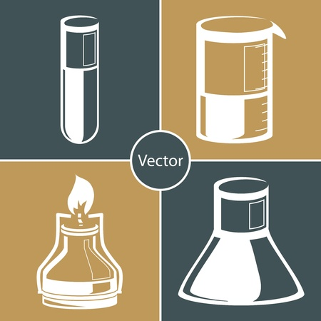 Science set. Chemical laboratory flask, tube.   Vector