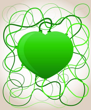 Green heart. Ecology concept.  Vector