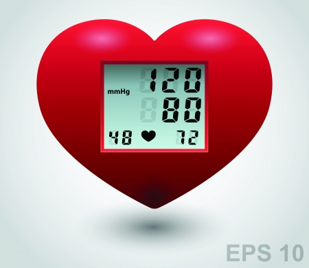 Red medical heart monitor.  Vector
