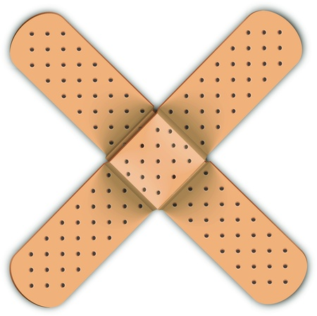 adhesive plaster: Adhesive bandage in form of medical cross  Medicine concept   Illustration