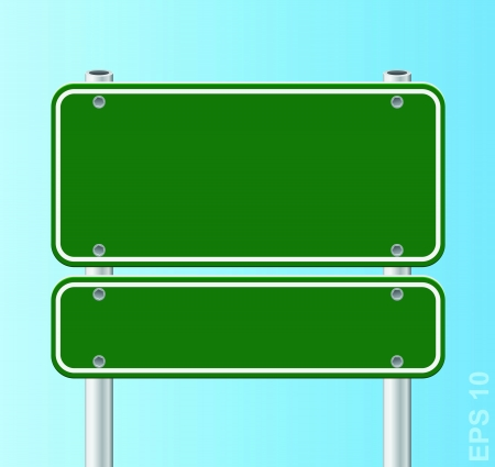 green traffic road sign   Stock Vector - 17179917