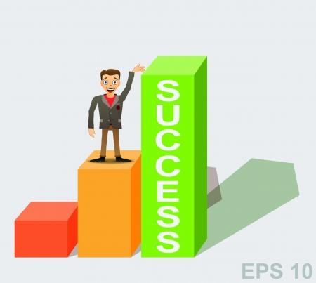 Success concept  Cartoon businessman with chart  illustration  Stock Vector - 17179925