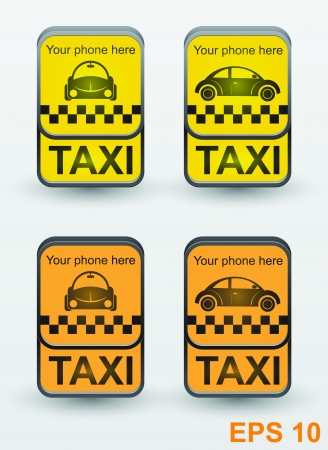 Taxi cab set icons  signs  Illustration