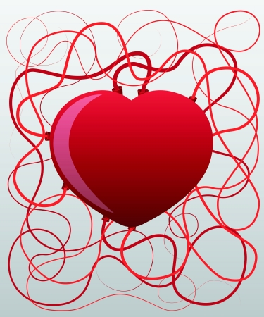 Red heart  Valentine illustration  Vector