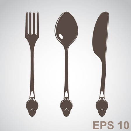Knife, fork and spoon   illustration Stock Vector - 17317969