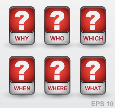 punto di domanda: Punto interrogativo set di icone pulsanti perché, chi, che, quando, dove, cosa Vettoriali
