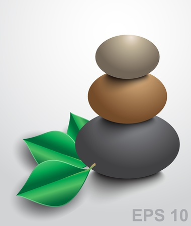 spa stones: Spa stones with green leaves.  illustration