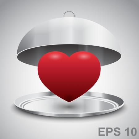 pareja comiendo: Corazón en cloche restaurante. Amor concepto. ilustración Vectores