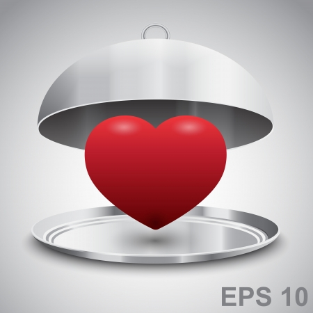 Heart in restaurant cloche. Love concept.  illustration