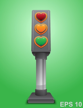 Valentines day love concept. Traffic lights with hearts.  illustration Stock Vector - 17317978