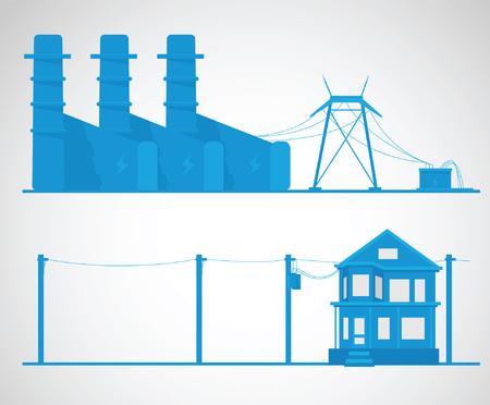 electricidad industrial: Concepto de la electricidad. ilustración vectorial industrial.