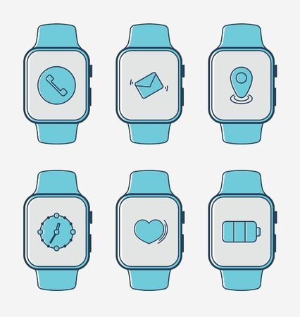 Smart watch. Set of gadgets vector icons
