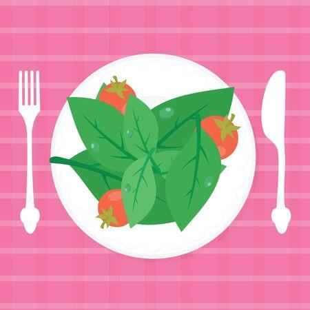 Fresh salad on plate. Vector illustration of food