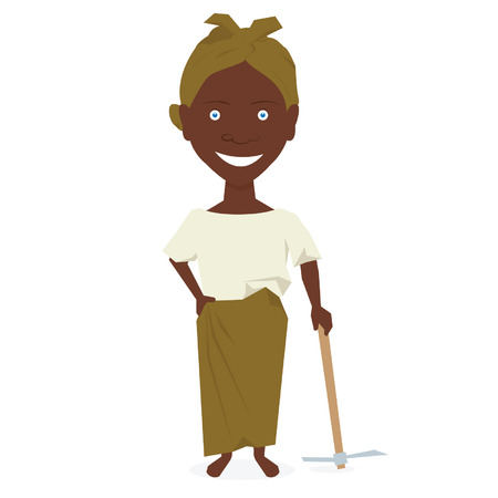 african woman at work: African farmer woman. Vector illustration isolated on white background