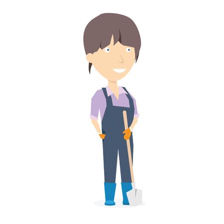 American farmer woman. Vector illustration isolated on white Illustration