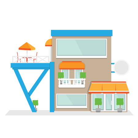 terrace: Building with terrace. Vector illustration of cafe