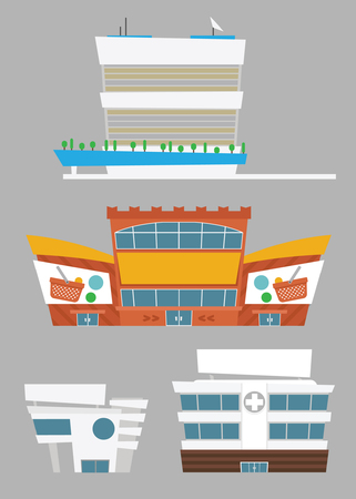 office objects: Set of buildings: supermarket, hospital, office. Vector isolated objects
