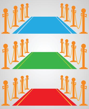 Red carpet: set of vector illustrations