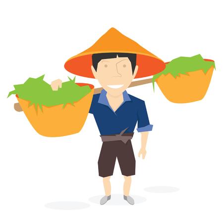 asian gardening: Chinese farmer man. Vector illustration isolated on white background