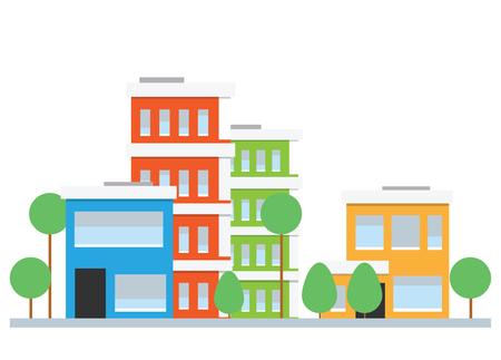 Flat design city street. Vector houses