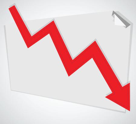 Business graph. Vector decreasing chart