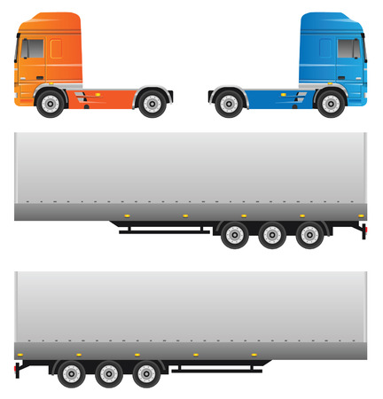 Trucks. Vector set isolated on white background