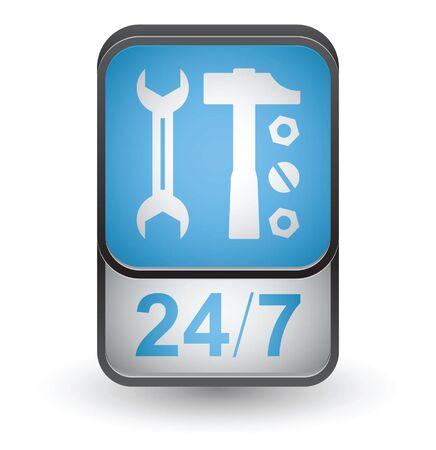 Repair service icon. Vector button