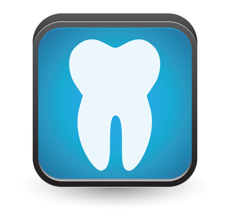 Tooth button. Vector icon isolated on white background.