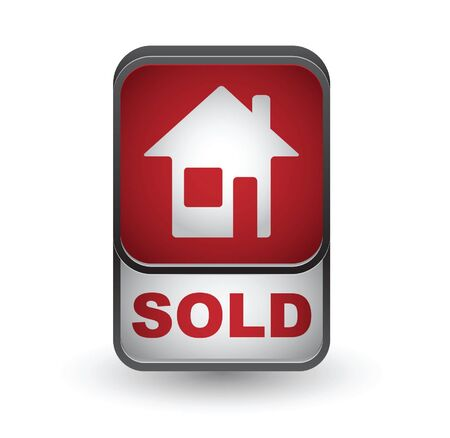 Sold icon. Real estate vector button.