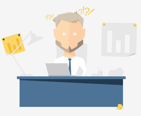 jobs people: Businessman at the office. Vector illustration of the character.