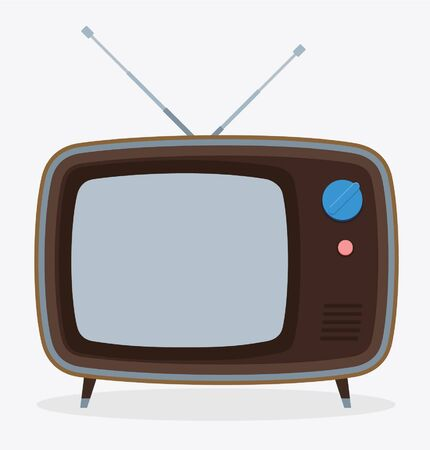 Retro old television with antenna. Vector illustration Illustration
