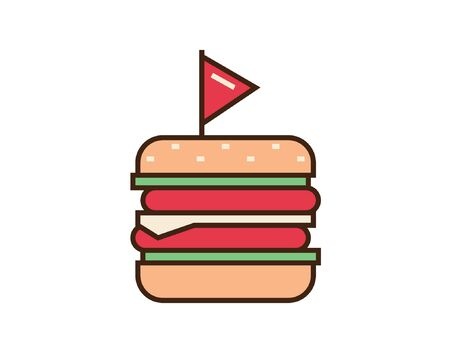 Burger icon. Fast food sign. Vector illustration isolated on white background Illustration