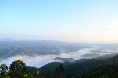 Clouds and fog in the mountains in Chiang Mai Province, Northern Thailand  001