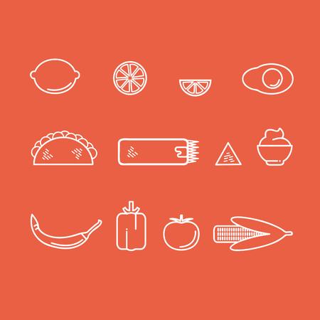 赤い背景の上の様々 な伝統的なカラフルなメキシコ料理