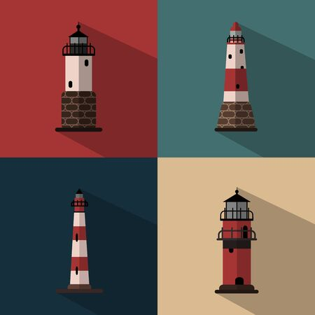pharos: Several types of lighthouses on colored backgrounds
