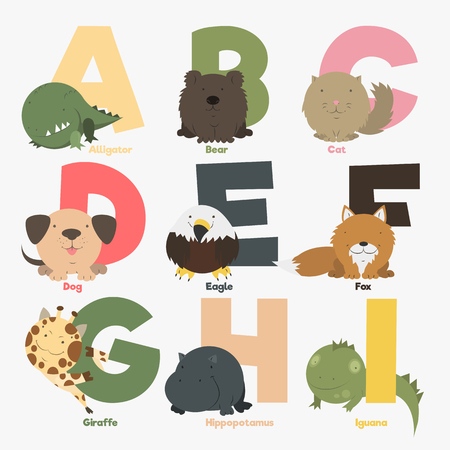 dog school: Alphabet with animals and birds to study letters
