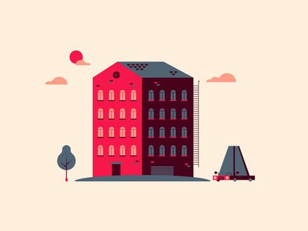 multistorey: Multi-storey building with a car and a tree