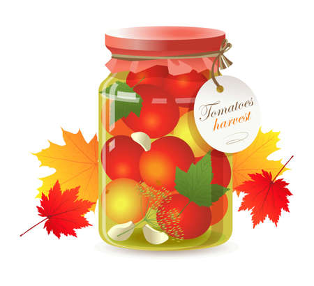 Pickled tomatoes in a glass jar on white