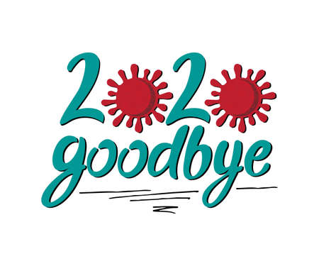 Lettering Goodbye 2020 from Turquoise Letters and Coronovirus Illustration