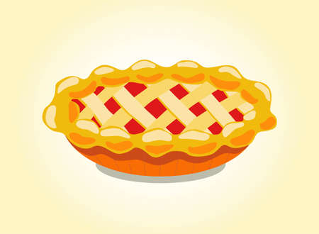 Appetizing Festive Pie with Filling, Cartoon Style